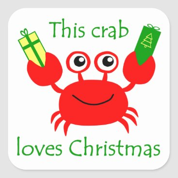 Christmas Themed Christmas Crab Square Sticker