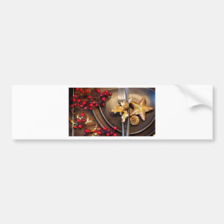 Christmas Cranberries And Gold Stars Bumper Sticker