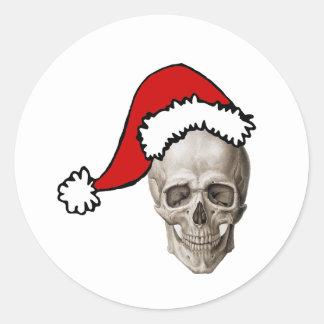Christmas Cranium Classic Round Sticker