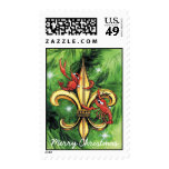 Christmas Crawfish & Fleur-de-lis Stamp