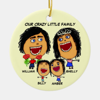 Christmas Crazy Family Cartoon Ceramic Ornament