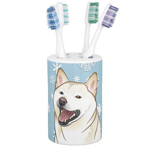 Christmas cream shiba inu dog bathroom decor set for Cream bathroom accessories set