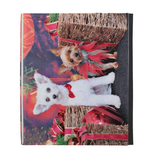 Christmas - Crestie Mojo - Yorkie Millie iPad Folio Cover