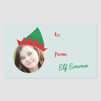 Christmas Crew Elf Hat Photo Holiday Gift Label