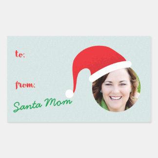 Christmas Crew Santa Hat Photo Holiday Gift Label