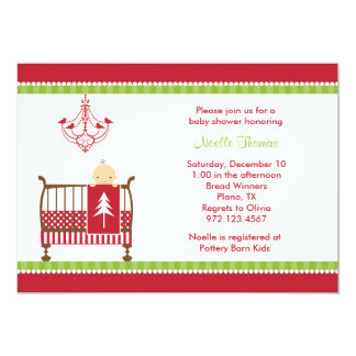 Christmas Crib Baby Shower Invitations