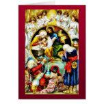 Christmas crib with angels around greeting card