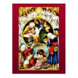 Christmas crib with angels around postcard