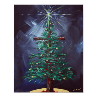 Christmas Cross (Christmas Tree) Poster