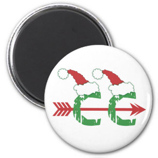 Christmas Cross Country Running 2 Inch Round Magnet