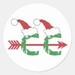 Christmas Cross Country Running Round Sticker