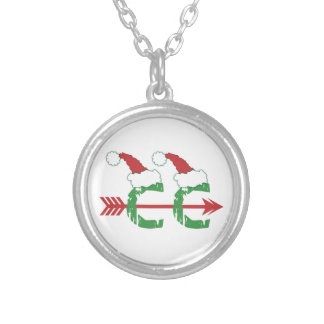Christmas Cross Country © Running Runner Gift Silver Plated Necklace