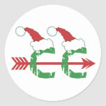 Christmas Cross Country Running Classic Round Sticker