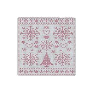Christmas Cross Stitch Sampler Stone Magnet