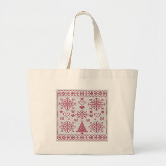 Christmas Cross Stitch Sampler Large Tote Bag