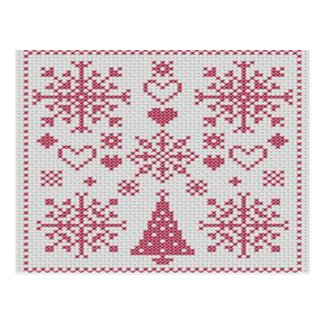 Christmas Cross Stitch Sampler Postcard