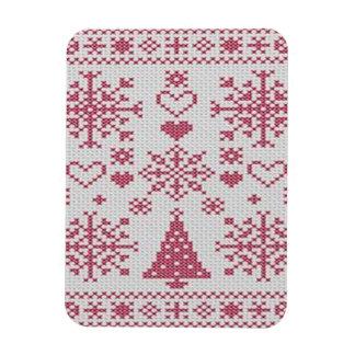 Christmas Cross Stitch Sampler Rectangular Magnets