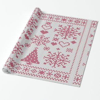 Christmas Cross Stitch Sampler Wrapping Paper
