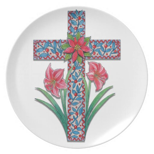 Christmas Cross with Amaryllises and Poinsettia Party Plates