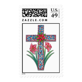 Christmas Cross with Amaryllises and Poinsettia Postage Stamp