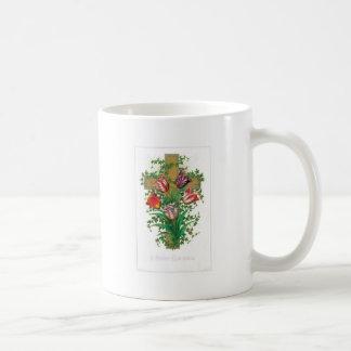 Christmas Cross with Flowers Coffee Mugs