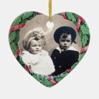 CHRISTMAS CROWN HEART  PHOTO TEMPLATE , Red Ruby Ceramic Ornament
