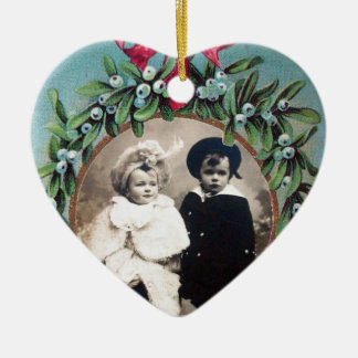 CHRISTMAS CROWN  MISTLETOES HEART  PHOTO TEMPLATE CERAMIC ORNAMENT