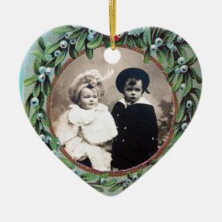 CHRISTMAS CROWN MISTLETOES  HEART PHOTO TEMPLATE CERAMIC ORNAMENT