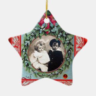 CHRISTMAS CROWN  MISTLETOES STAR  PHOTO TEMPLATE CERAMIC ORNAMENT