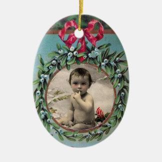 CHRISTMAS CROWN STOCKING,MISTLETOES PHOTO TEMPLATE CERAMIC ORNAMENT