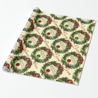 CHRISTMAS CROWN WITH HOLLY BERRIES, JOY PEACE LOVE WRAPPING PAPER