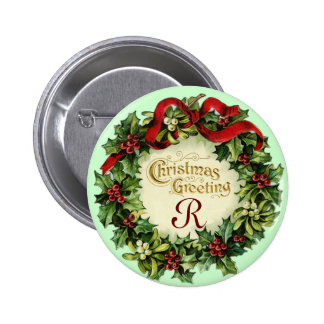 CHRISTMAS CROWN WITH MISTLETOES AND HOLLY BERRIES BUTTON