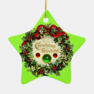 CHRISTMAS CROWN WITH MISTLETOES AND HOLLY BERRIES CERAMIC ORNAMENT