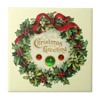 CHRISTMAS CROWN WITH MISTLETOES AND HOLLY BERRIES CERAMIC TILE
