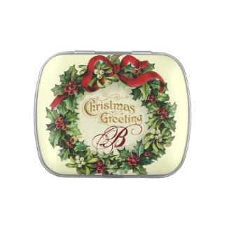 CHRISTMAS CROWN WITH MISTLETOES AND HOLLY BERRIES JELLY BELLY CANDY TINS