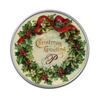 CHRISTMAS CROWN WITH MISTLETOES AND HOLLY BERRIES JELLY BELLY TIN