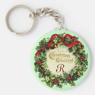 CHRISTMAS CROWN WITH MISTLETOES AND HOLLY BERRIES KEYCHAIN