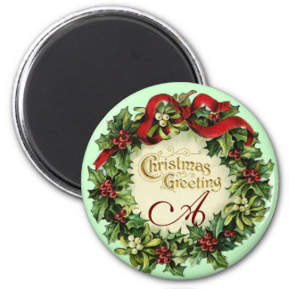CHRISTMAS CROWN WITH MISTLETOES AND HOLLY BERRIES REFRIGERATOR MAGNETS