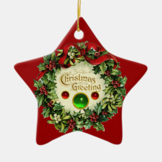 CHRISTMAS CROWN WITH MISTLETOES AND HOLLY BERRIES ORNAMENT