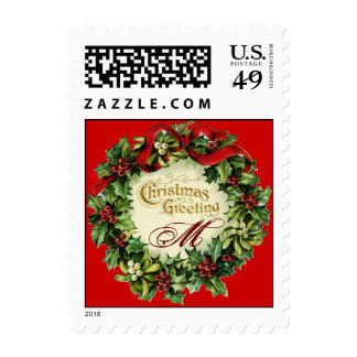 CHRISTMAS CROWN WITH MISTLETOES AND HOLLY BERRIES POSTAGE