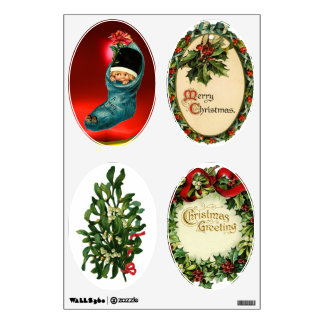 CHRISTMAS CROWN WITH MISTLETOES AND HOLLY BERRIES WALL STICKER