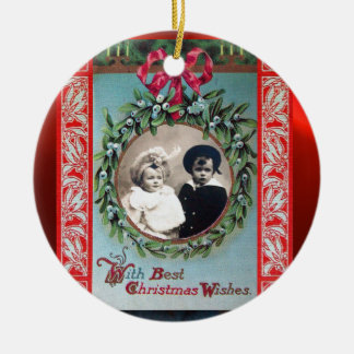 CHRISTMAS CROWN WITH MISTLETOES PHOTO TEMPLATE CERAMIC ORNAMENT