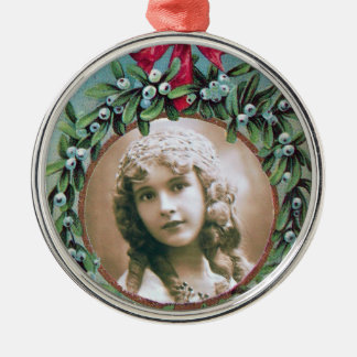 CHRISTMAS CROWN WITH MISTLETOES PHOTO TEMPLATE METAL ORNAMENT