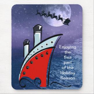 Christmas Cruise Ship spots Santa flying overhead Mouse Pad