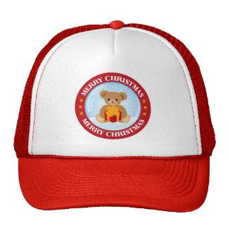 Christmas Crystal Ball Cute Bear Holding Giftbox Trucker Hat