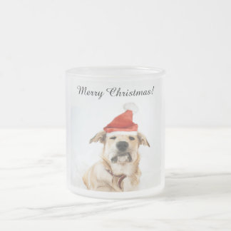 Christmas cup from frosted glass with Christmas do