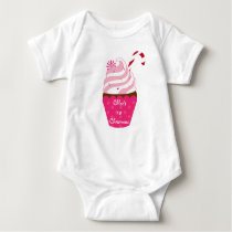 Christmas Cupcake Candy Cane Baby T-Shirt