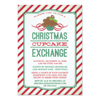 "Christmas Cupcake Exchange Party Invitation 5"" X 7"" Invitation Card"