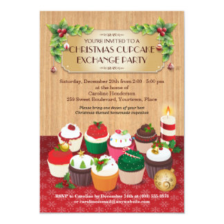 "Christmas Cupcake Exchange Party 5"" X 7"" Invitation Card"