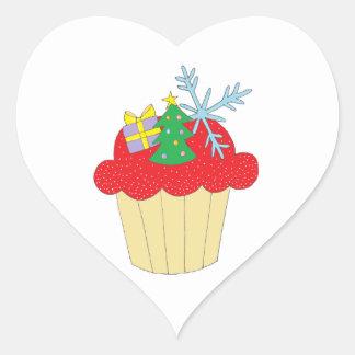 Christmas Cupcake Heart Sticker